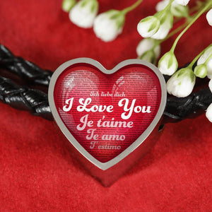 I Love You in 100 Languages - Heart Charm & Real Leather Woven Braided Bracelet | Kadance Shop