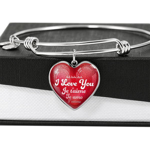 Jewelry I Love You in 100 Languages - Red Heart Pendant Adjustable Bangle | Kadance Shop ShineOn Fulfillment