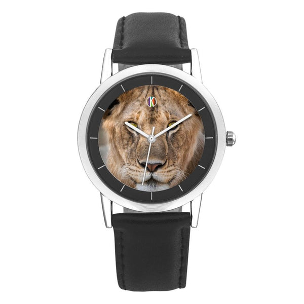 Black Type Double-layer Concise Dial Water Resistance Quartz - diameter - 28mm For-Her Lioness Face Watch for Her | Kadance Shop JetPrint Fulfillment