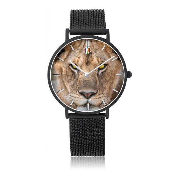 Black Type Steel Strap Water Resistance Quartz II - diameter - 33mm For-Her Lioness Face Watch for Her | Kadance Shop JetPrint Fulfillment