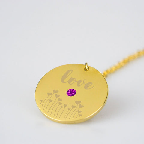 pendant Stainless Steel Love Necklace with Birthstone Beeoux