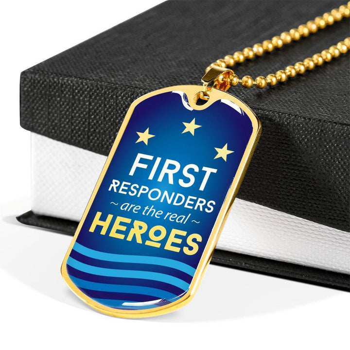 Jewelry Military Chain (Gold) / No Luxury Dog Tag | First Responders are the Real Heroes | Kadance Shop ShineOn Fulfillment