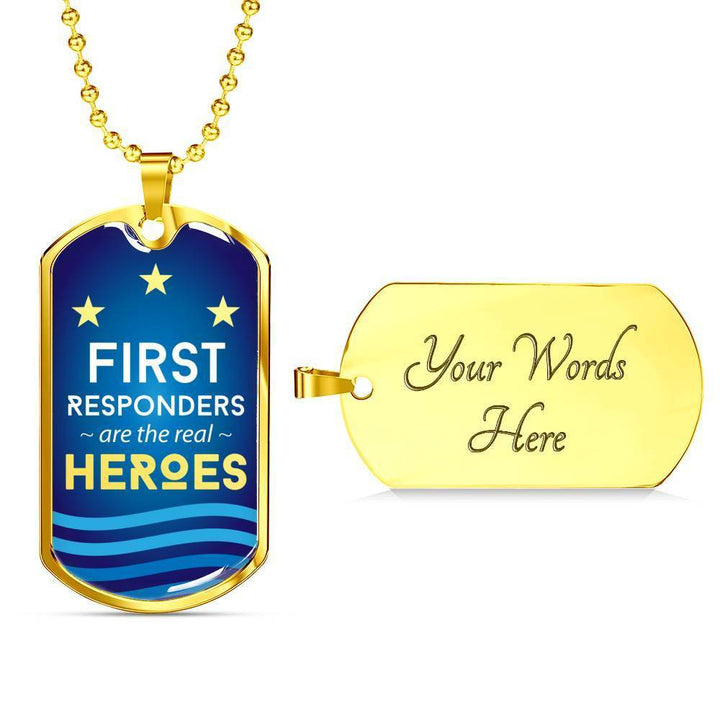 Jewelry Military Chain (Gold) / Yes Luxury Dog Tag | First Responders are the Real Heroes | Kadance Shop ShineOn Fulfillment