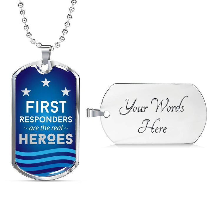 Jewelry Military Chain (Silver) / Yes Luxury Dog Tag | First Responders are the Real Heroes | Kadance Shop ShineOn Fulfillment