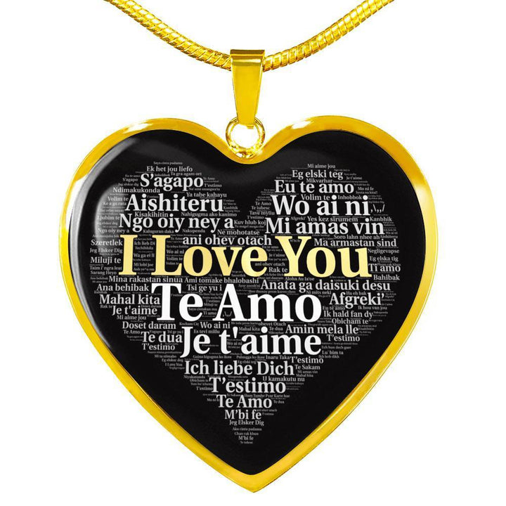 Jewelry Luxury Necklace (Gold) / No Luxury Necklace (18k Gold) I Love You in 100 Languages ShineOn Fulfillment