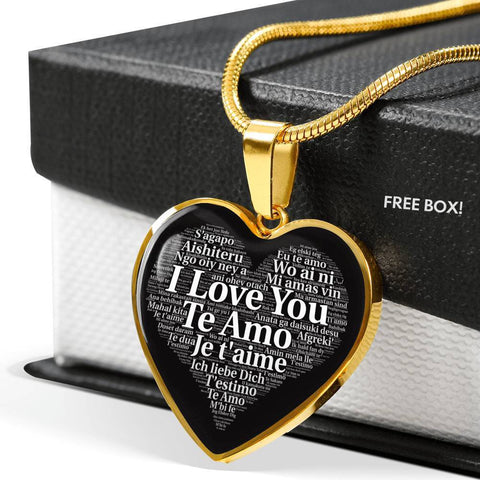 Jewelry Luxury Necklace (Gold) / No Luxury Necklace | I Love You in 100 Languages | Kadance Shop ShineOn Fulfillment