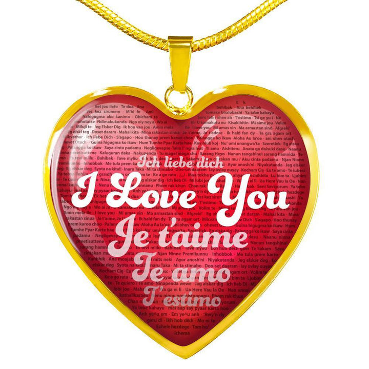 Jewelry Luxury Necklace (Gold) / No Luxury Necklace & Red Heart Pendant - I Love You in 100 Languages | Kadance Shop ShineOn Fulfillment