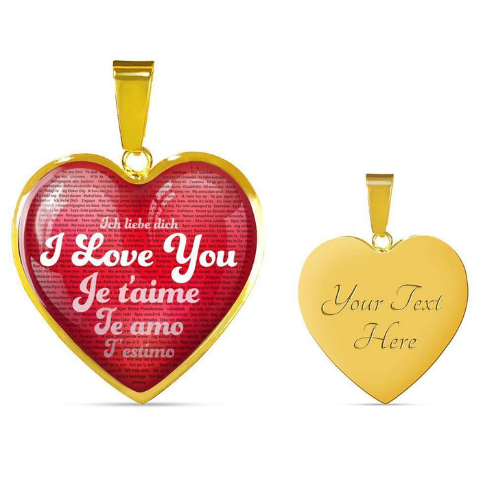 Jewelry Luxury Necklace (Gold) / Yes Luxury Necklace & Red Heart Pendant - I Love You in 100 Languages | Kadance Shop ShineOn Fulfillment