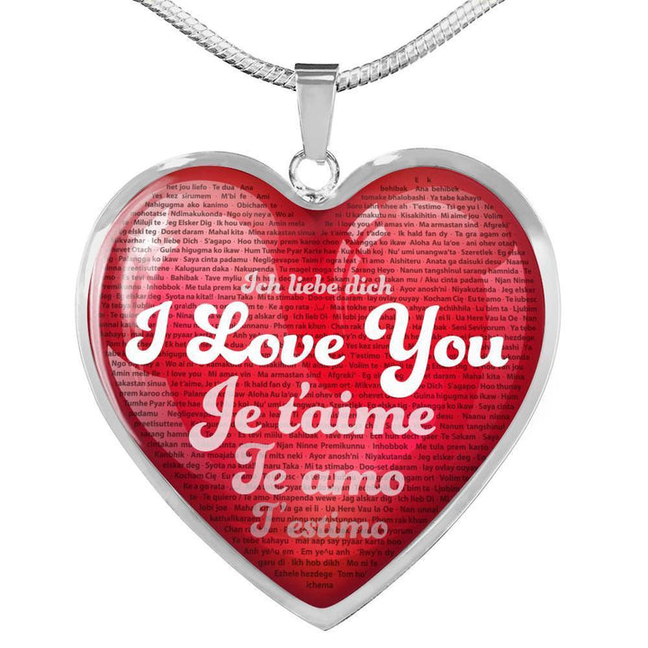 Jewelry Luxury Necklace (Silver) / No Luxury Necklace & Red Heart Pendant - I Love You in 100 Languages | Kadance Shop ShineOn Fulfillment