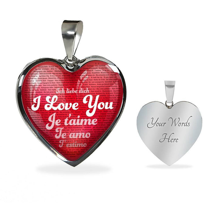 Jewelry Luxury Necklace (Silver) / Yes Luxury Necklace & Red Heart Pendant - I Love You in 100 Languages | Kadance Shop ShineOn Fulfillment