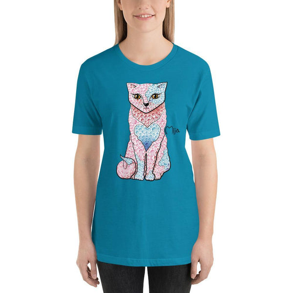 Aqua / S Mija cat | Short-Sleeve Unisex T-Shirt Kadance Shop