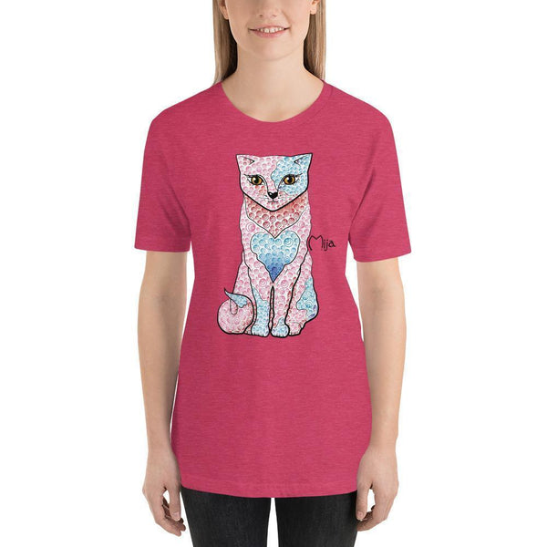 Heather Raspberry / S Mija cat | Short-Sleeve Unisex T-Shirt Kadance Shop