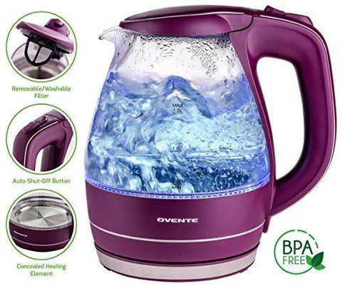 Ovente Glass Electric Kettle, Fast Heating with Auto Shut-Off and Boil-Dry Protection Ovente
