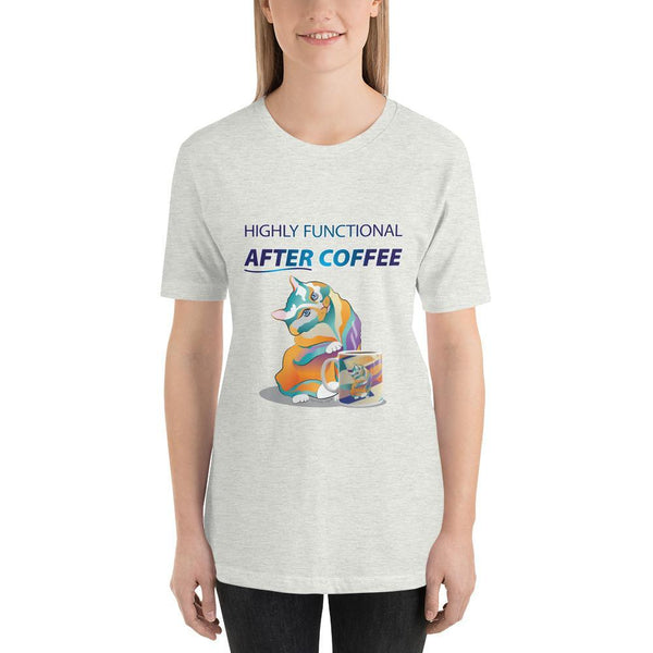 Ash / S Percival Cat Highly Functional After Coffee | Short-Sleeve Unisex T-Shirt (personalize) Kadance Shop