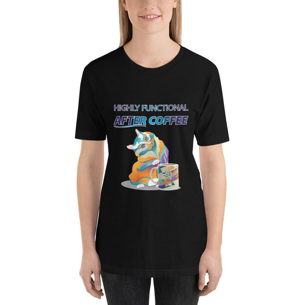 Black / S Percival Cat Highly Functional After Coffee | Short-Sleeve Unisex T-Shirt (personalize) Kadance Shop