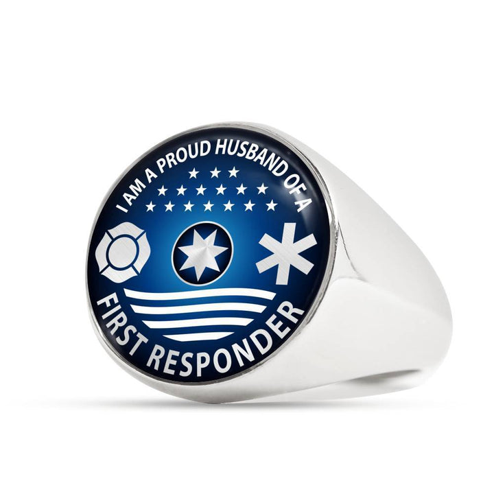 Ring Stainless Steel Signet Ring Ring - I am a Proud Husband of a First Responder, steel or gold ShineOn Fulfillment