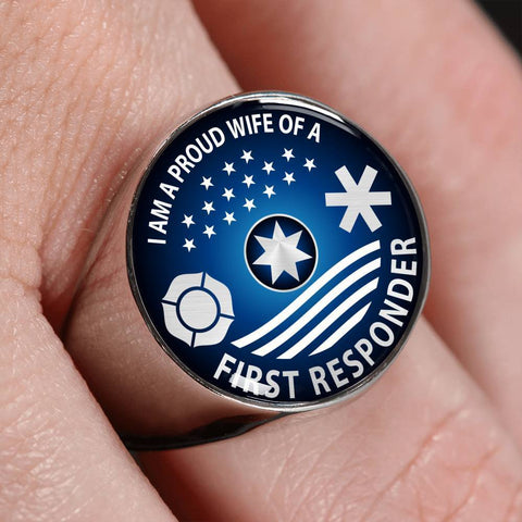 Ring Ring - I am a Proud Wife of a First Responder, steel or gold ShineOn Fulfillment