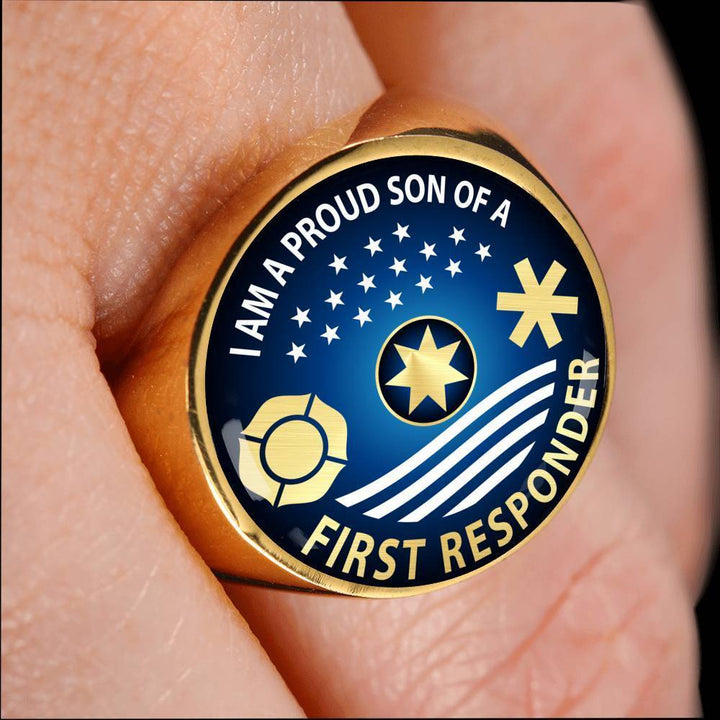 Ring Ring - I am Proud Son of a First Responder, steel or gold ShineOn Fulfillment
