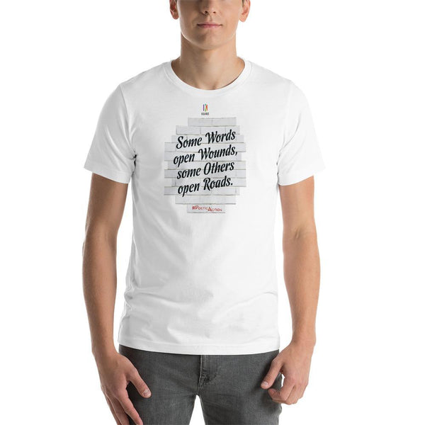 White / S Some words... open roads | PoeticAction | Short-Sleeve Unisex T-Shirt Kadance Shop