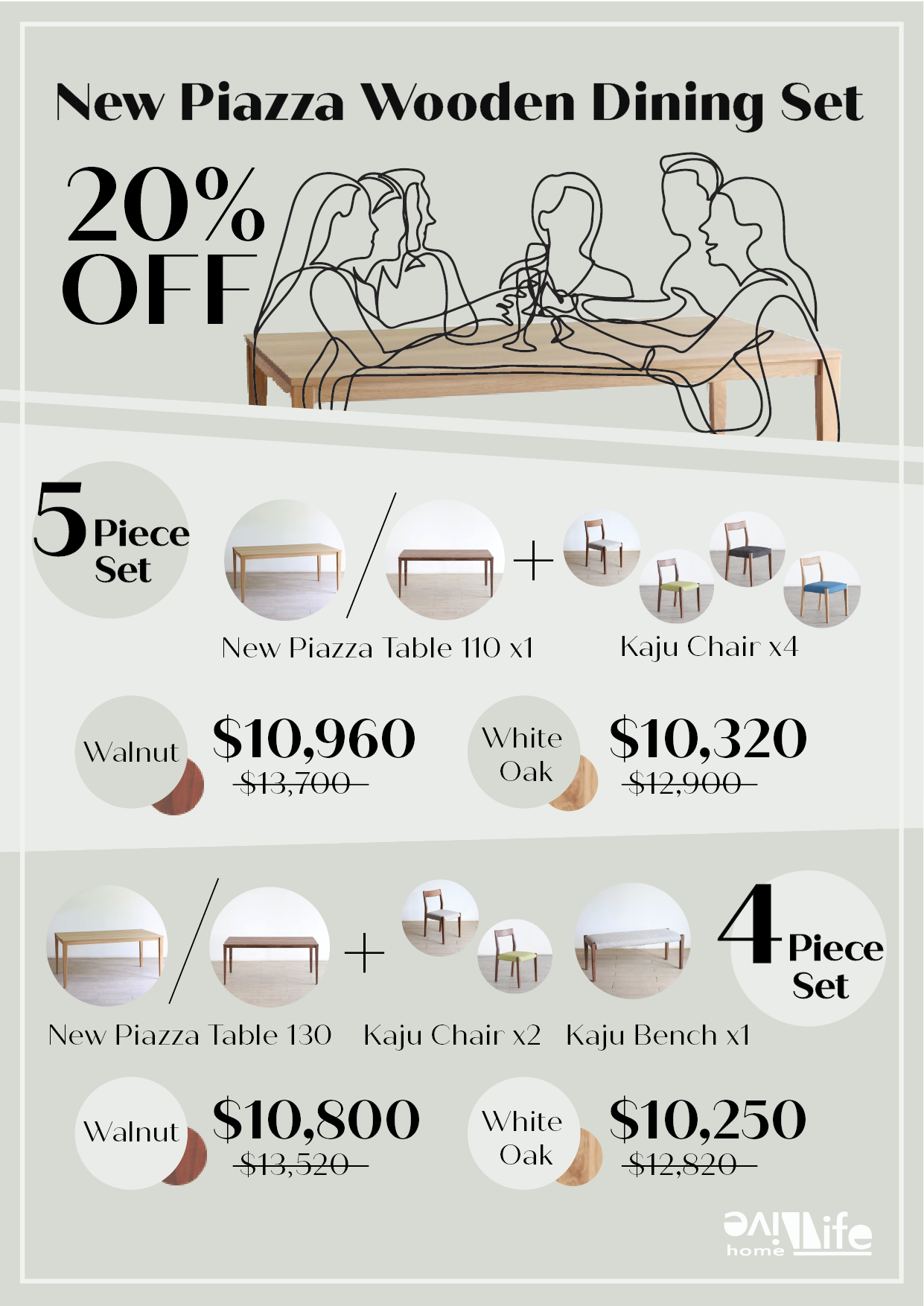 Japan Wooden Dinging Table and Chair Package