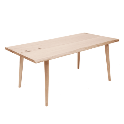 NATURAL WOOD DINING TABLE WITH BUTTERFLY TENON