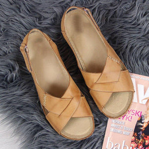 Velcro Straps Wedge Heel Crossed Sandals With Open Toe