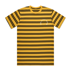 Yellow Embroidered Stripe Tee