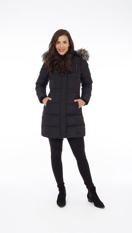 Puffer Coat with Removable Faux Fur and Detachable Hood