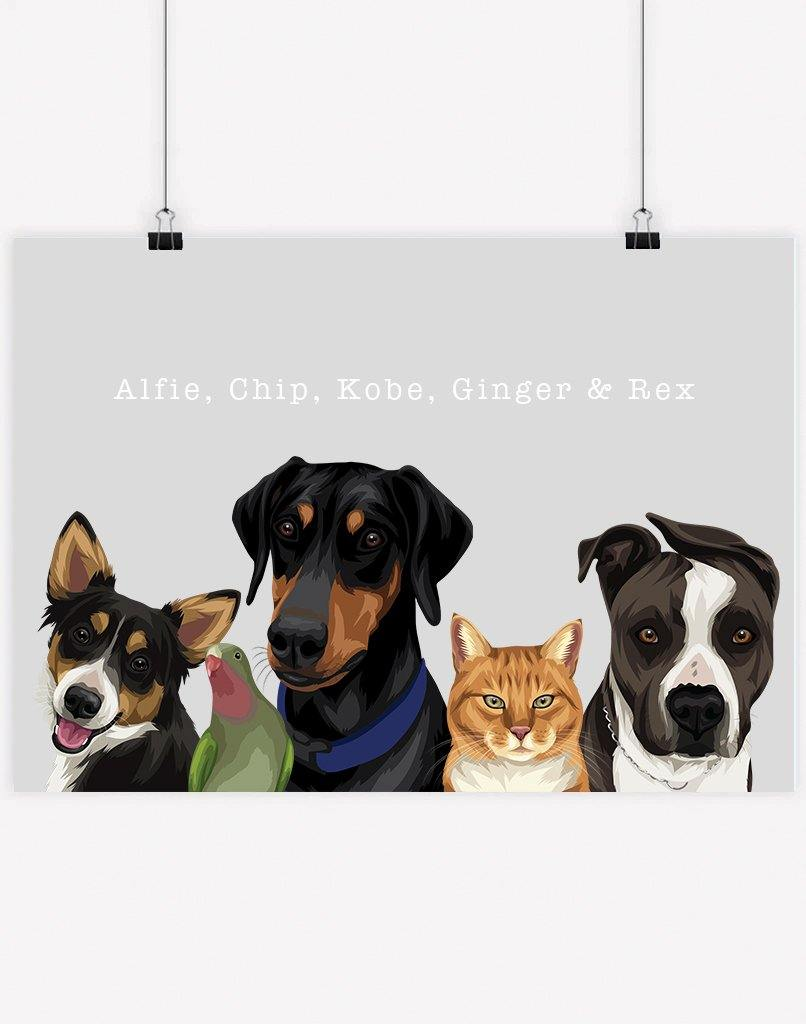 Custom Pet Portrait - Five Pet Family Portrait