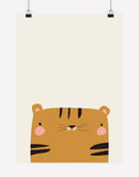 Peekaboo Tiger Animal Print | Poster Print - Nursery Wall Art