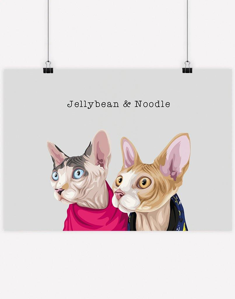 Custom Pet Portrait - Sibling Portrait
