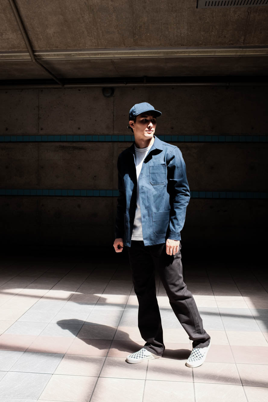Model shown wearing the Navy work jacket.