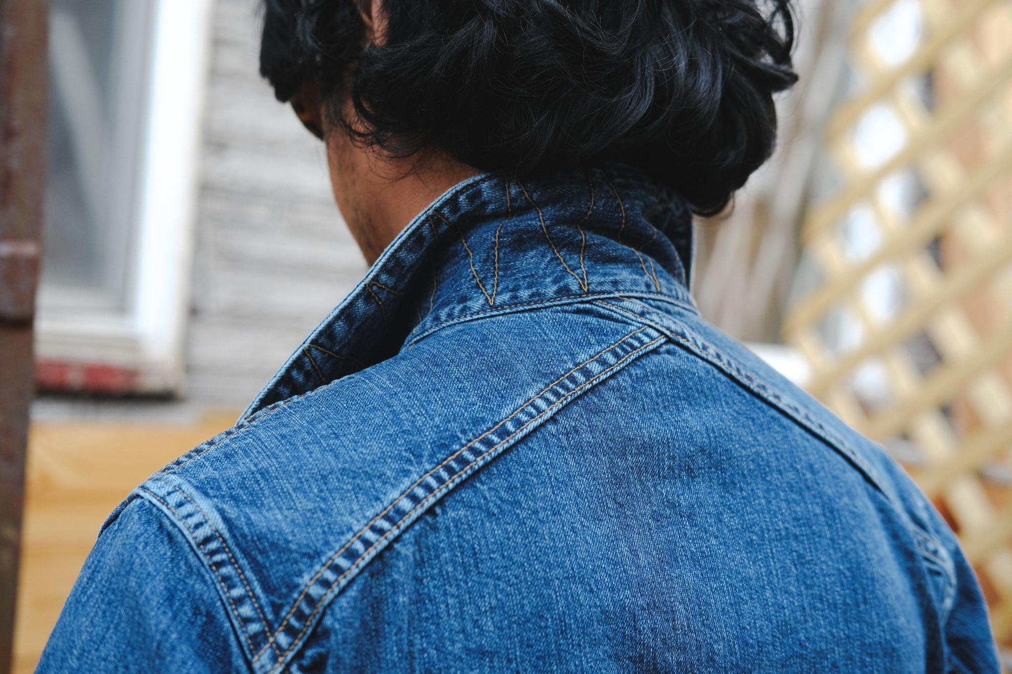 A shot of the back of the jacket showing our crossed back yoke detailing.