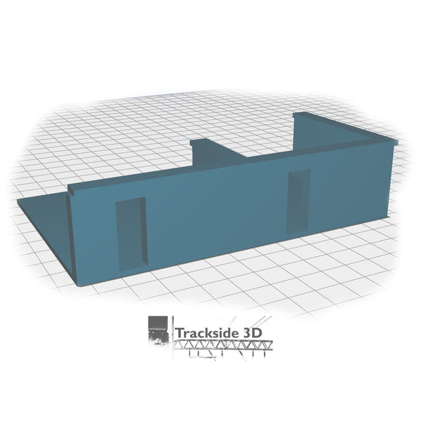 T3D-008-004 Railwayside Terrace - Low Relief House (Rear) Base Middle - Offset Gates