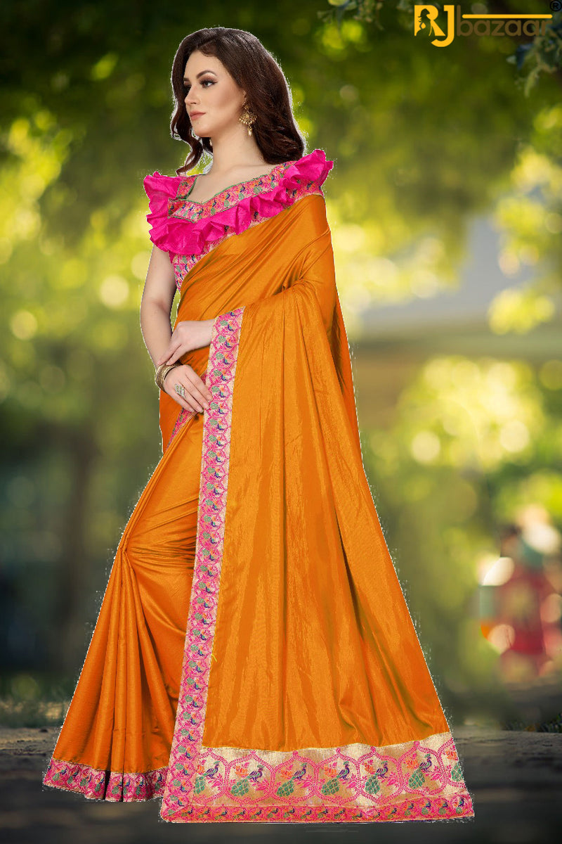 Orange Paper Silk Saree Box Pallu Viscos Jecard Border