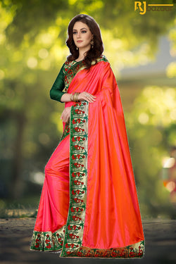 Orange Paper Silk Saree With Viscos Jecard Border