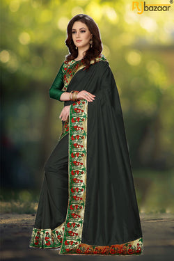 Black Paper Silk Saree With Viscos Jecard Border