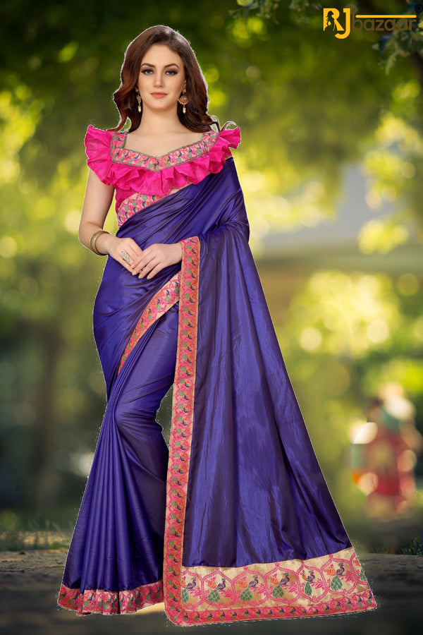 Purple Paper Silk Saree Box Pallu Viscos Jecard Border