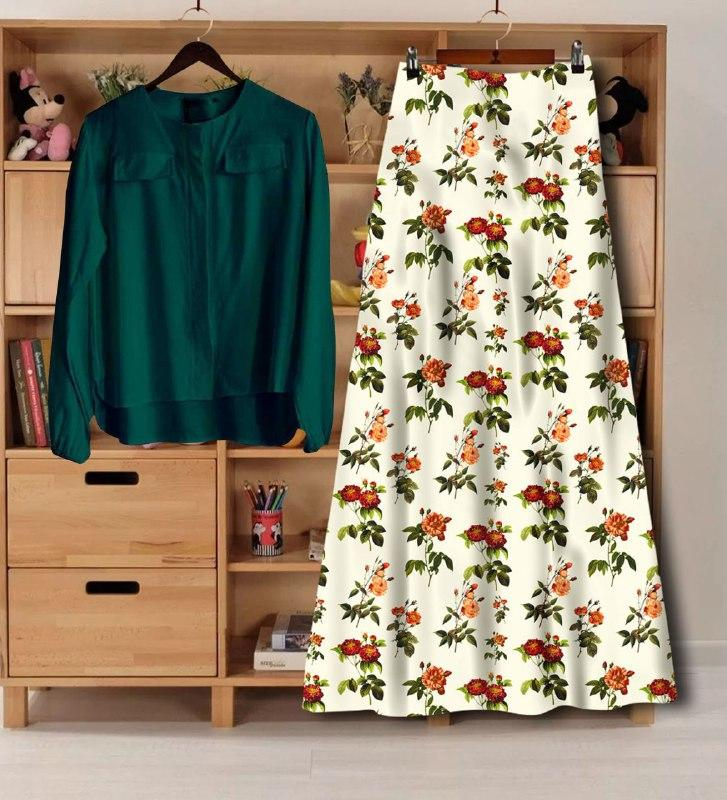 Beautiful Rayon Digital Printed Top And Skirt Set For Women's
