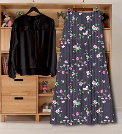 Latest Digital Printed Rayon Western Top And Skirt Set For Women's