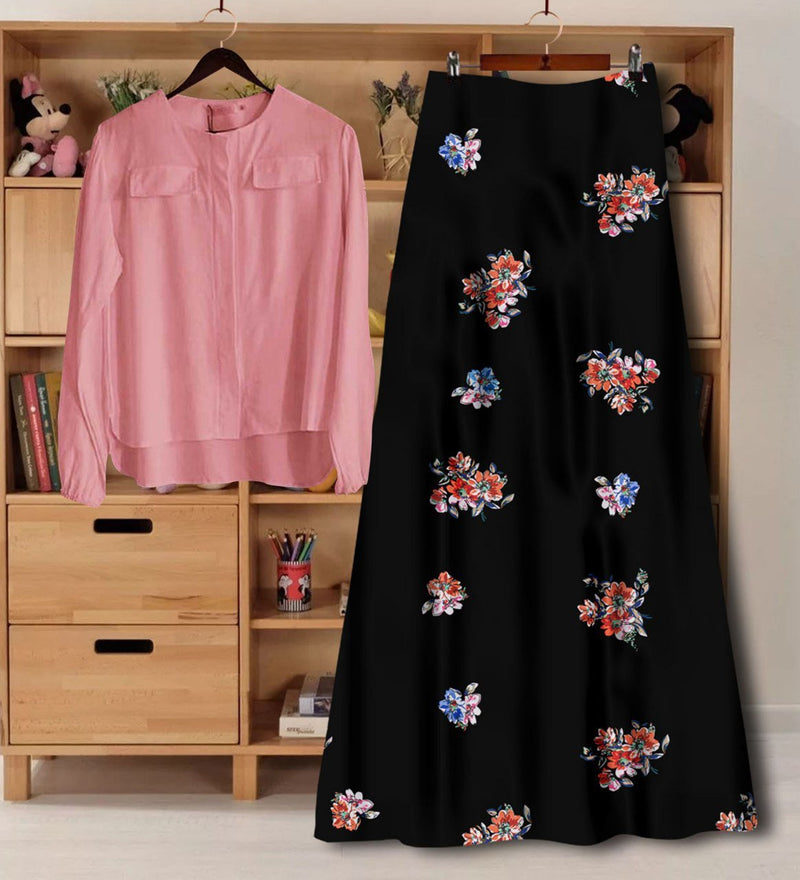 Party Wear Digital Printed Rayon Western Wear Top And Skirt Set