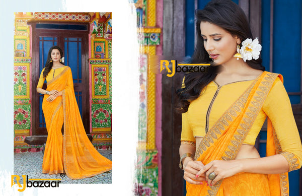 Yellow Fancy Silk Chiffon Saree