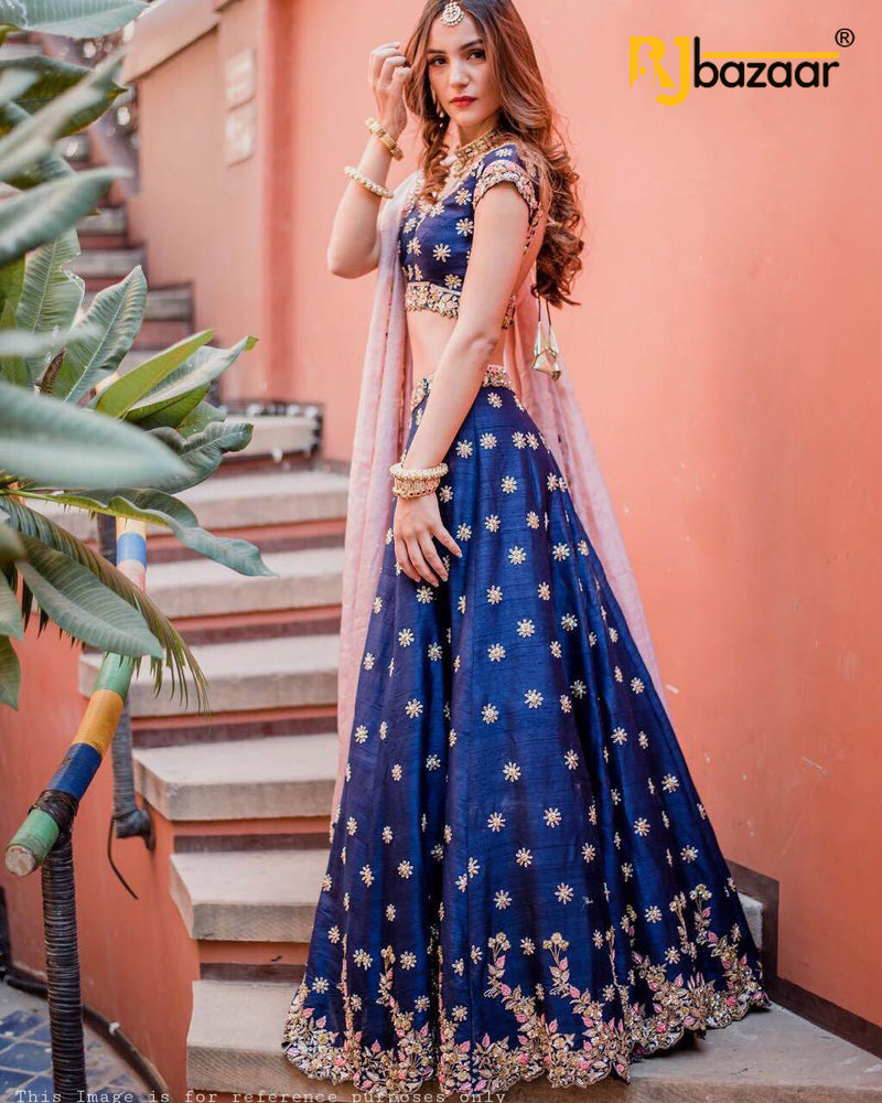 Blue Benglory Silk Lehengha Embroidery and Diamond