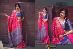 Pink & Blue Patola Silk Saree