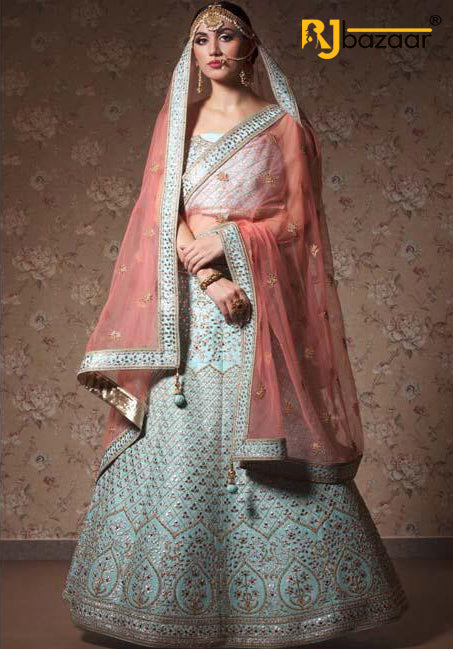 Sky Blue Mulberry Bridal Wear Lehenga Choli