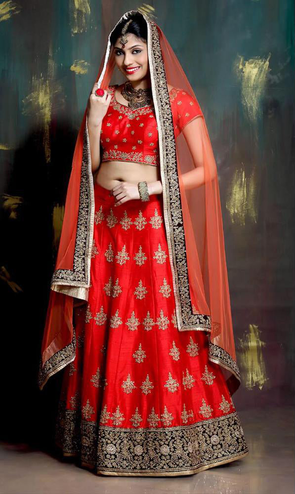 Red Heavy Exclusive Bridal Wear Lehenga Choli