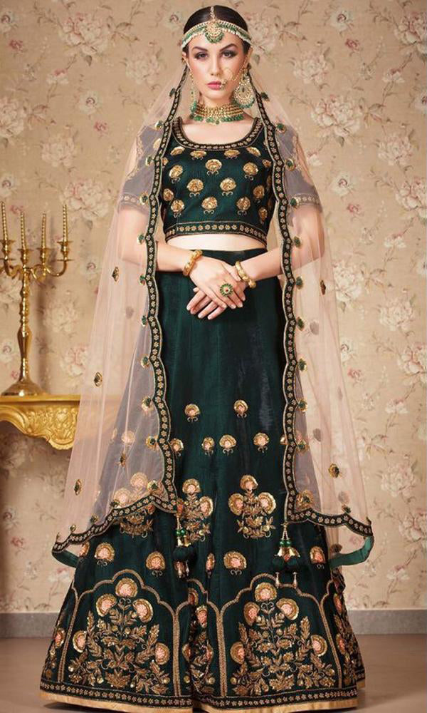Dark Green Heavy Exclusive Bridal Wear Lehenga Choli
