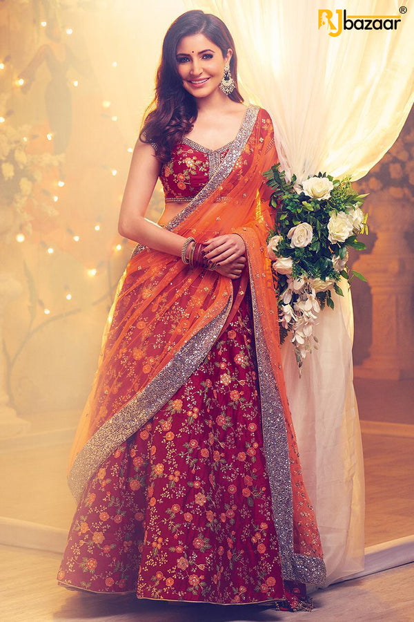 Dark Red Malai Satin Wedding Wear Lehengha Choli