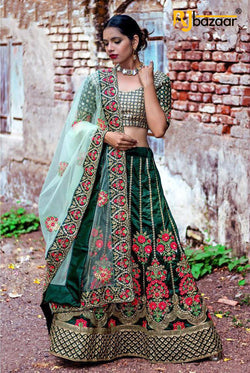 Dark Green Banglory satin Party wear lehenga choli