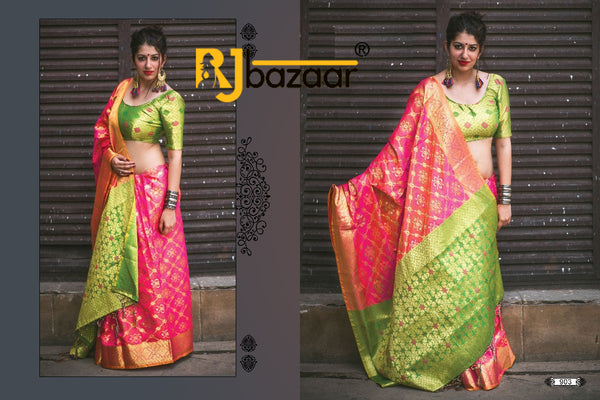 Green & Pink Patola Silk Saree